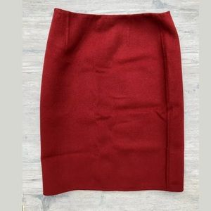 Kors Michael Kors Red Straight Pencil Wool Skirt